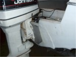 A picture of the new jack plate.  Boat is dirty.