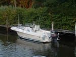 Photo taken June 04 at my dock.  Added swim steps on each side of motor well several years back.